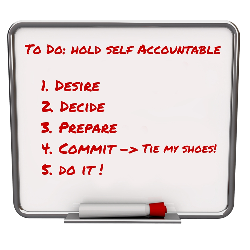 white board 5 steps to hold self accountable